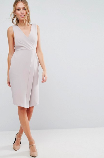 Closet V Neck Wrap Front Midi Dress