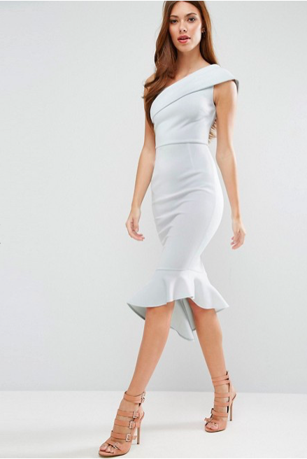 ASOS Scuba One Shoulder Peplum Midi Dress