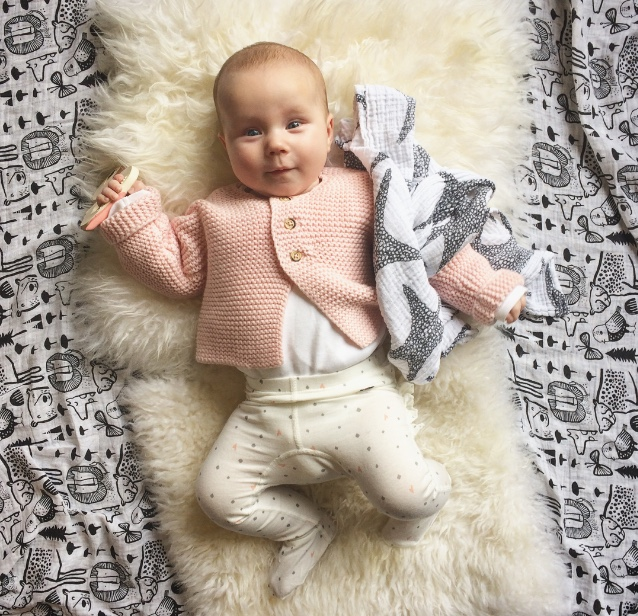 The little lady in her element (Cardigan by Petit Bateau - new collection, found on eBay)