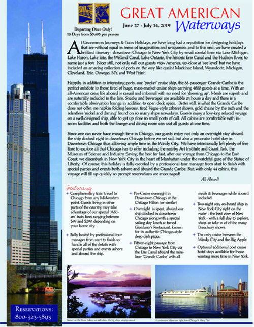 Great American Waterways - Chicago to New York by Small Ship! Once Only - June 27 - July 14, 2019