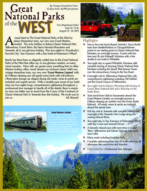 June 10 & August 19, 2019 - A Visual feast to the Great National Parks of the West by Streamliner train!