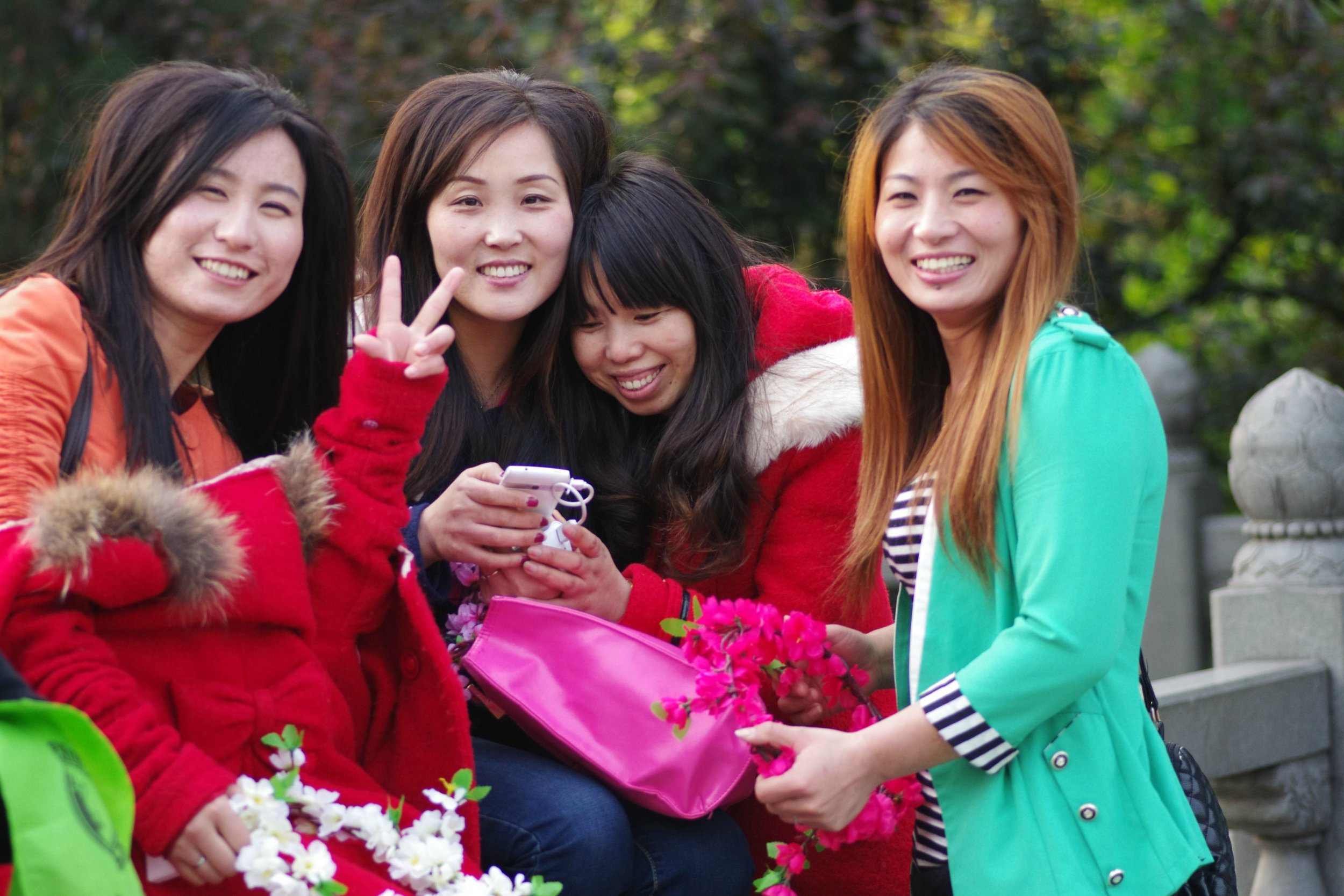 group of girls flowers