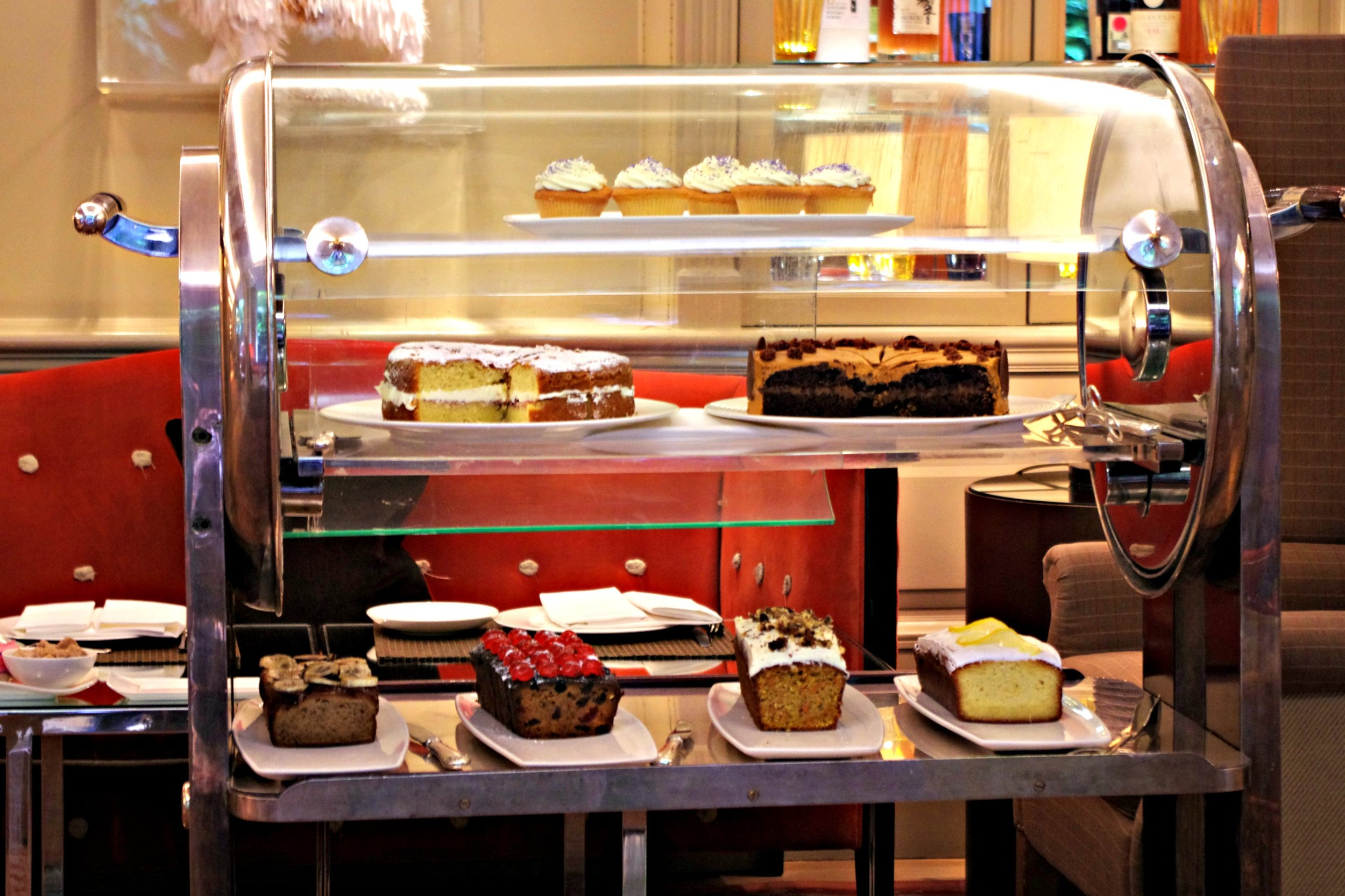 tray with cakes