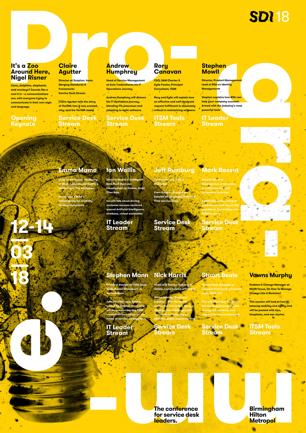 SDI 18 programme poster design - speakers