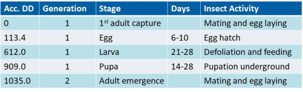 Table 1. Accumulated degree days for different stages of true armyworm (Mythimna unipuncta). (Modified from J.C. Guppy (1969) Can. Entomol. 101:1320-1327).