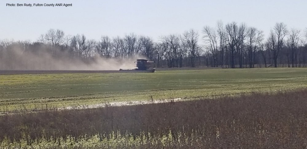 Figure 1. Soybean harvest in January 2019 in Fulton County, KY.