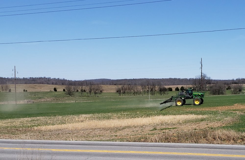 Figure 1. Farmer applying pesticides on wheat in Caldwell County, KY (March 2019) (Photo: Raul Villanueva, UK).