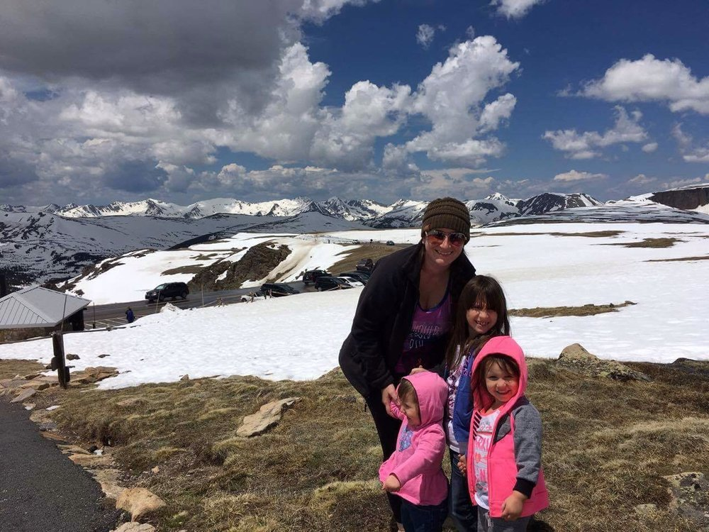 We found snow in JUNE in the SUMMER! These Texan's were pretty stoked to play in the snow. The girls have never seen real snow before so this was a first. We were in the Rocky Mountain National Park at elevation 11,ooo+ft ! It actually started snowing on us while we were up here. My mom captured this moment for us using her iPhone 6s
