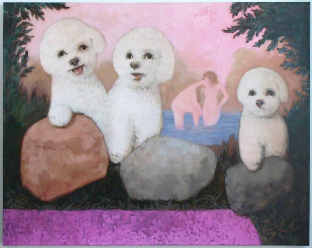 THREE BICHONS_oil on linen_2014_28 x 36 inches