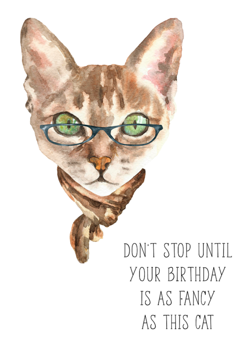 Fancy Cat Birthday Card Hammontree Design