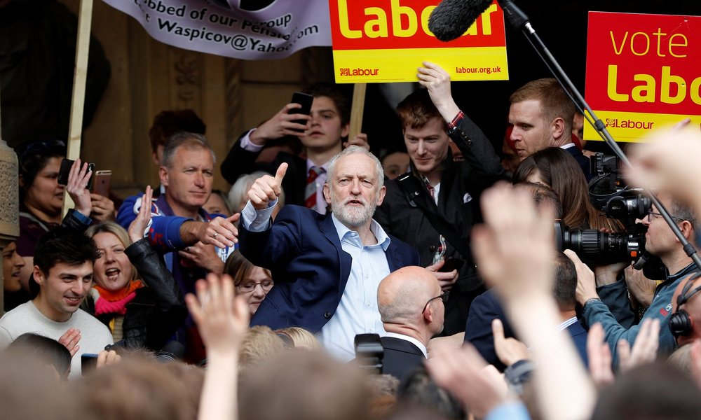 Jeremy Corbyn campaigns outside Leamington Spa town hall, in a Conservative-held area. Photograph: Darren Staples/Reuters (Courtesy of   The Guardian  , 2017).
