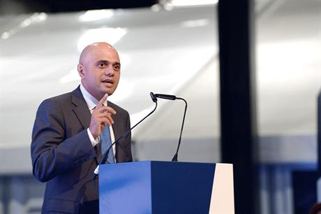Sajid Javid speaking at the LGA Conference in Birmingham. Photo courtesy of  Planning Resource , 2017.