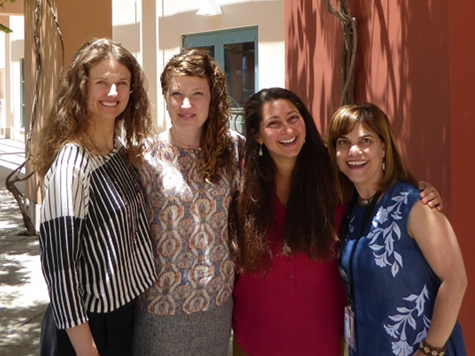 (Left to right)  Rachelle Haddock, Liska Richer, and Caroline Savage with Elke Schreiner at the 2017 California Higher Education Sustainability Conference at the University of California, Santa Barbara