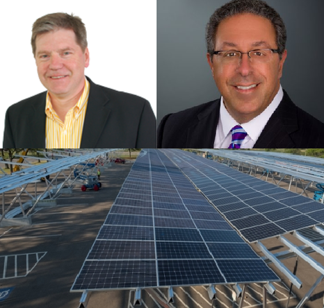 Wolfgang Bauer (left); Gary Farha (right);   Solar Carport Installation  at MSU (bottom)