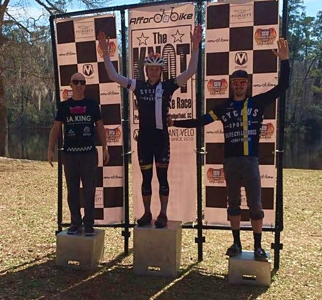 Seth Kemp and Merv Davis of Cycle-Smart team Cyclus Sports Finish in 1st and 3rd Respectively at The Knot MTB Race. Photo: Jacob Fetty.