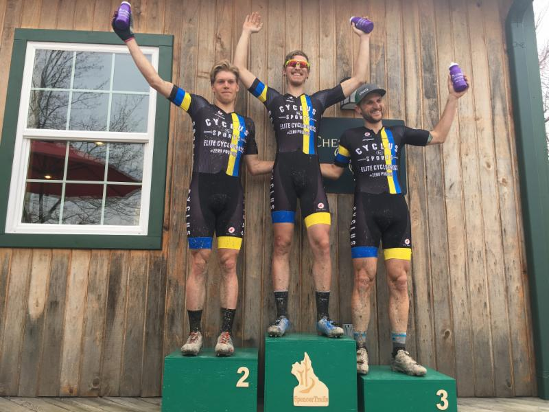 Cycle-Smart Athletes round out the podium at Tour de Lake with Coach Jacob Fetty in 3rd, Seth Kemp in 2nd and Merv Davis on the top step in the Pro Men's Short Track.