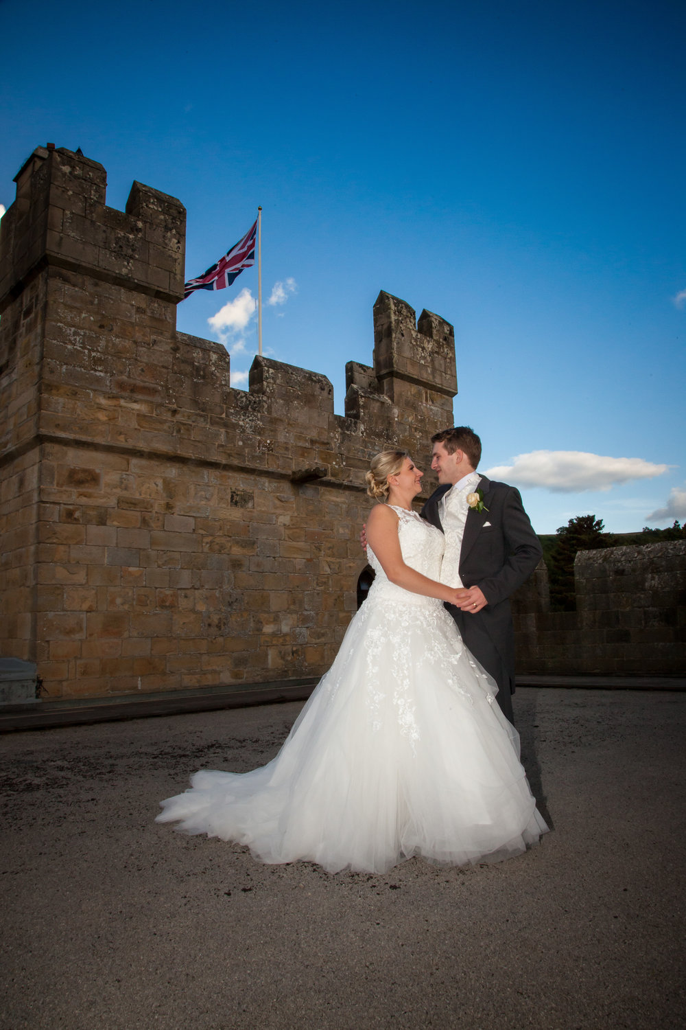 Langley Castle rooftop wedding image