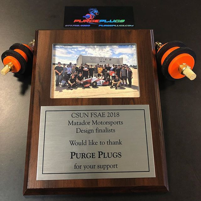 CSUN Formula SAE race team, On behalf of Purge Plugs we would like to thank you for the sponsorship plaque. The car looks incredible and I'm certain the formula SAE team is, and will always continue to be, a team composed of brilliant minds and unwavering determination. We are glad our product provided assistance in the fabrication of the titanium exhaust system. We wish the entire team the best of luck in all professional and personal endeavors. #purgeplugs #mechanicalengineering #weldporn #welding #titanium #tigweld #exhaustfabrication #purgewelding #sanitarywelding #engineeringcsun #fsae