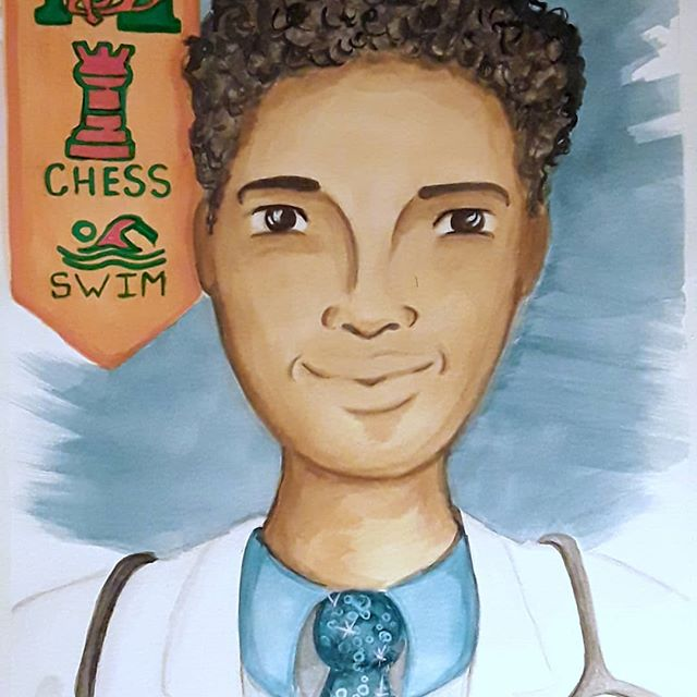 Thanks Mattie for the opportunity to create personalized illustrations for your kids! #mhs #illustration #blackart #jax4kids #painting #medicalprogram #
