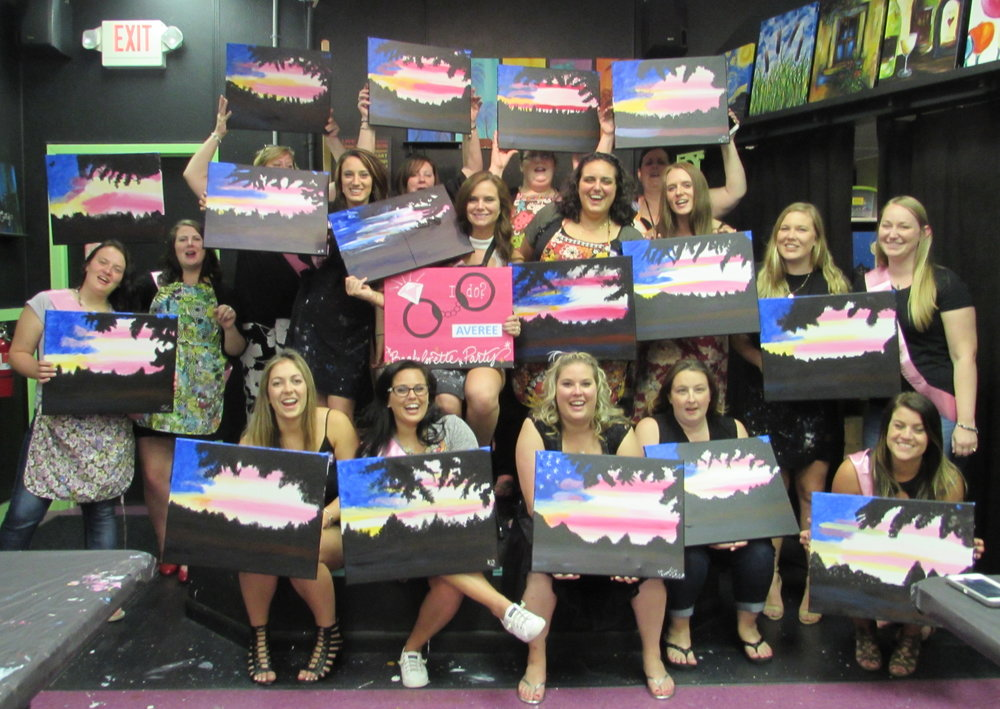 Bachelorette party having a blast being partriotic with the American Flag landscape!!