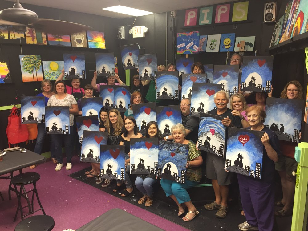 Team Building, Corporate Events - Holidays, Going A-ways - Your place or ours!!  Example of Team Building Event - We begin with your painting and switch with the person on your left and continue until you get your painting back. Team collaboration, building trust, different perspectives, laughs and communication. Simply a great way to spend quality time, while creating a positive and connective atmosphere.