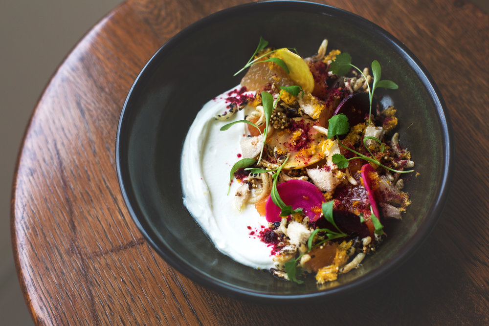 YOGURT   QUINOA + PUFFED WILD RICE GRANOLA, BEETS, LYCHEE AND KUMQUAT