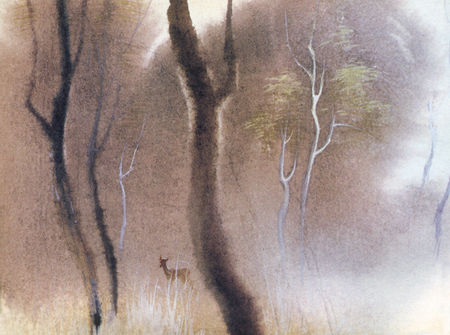 "Concept sketch of a deer in the forest for Walt Disney's ""BAMBI"" by Tyrus Wong"