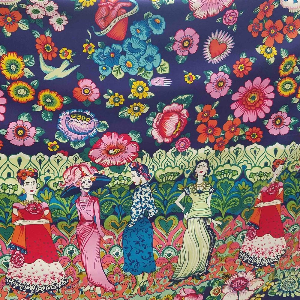 FRIDA CATRINA   Frida Kahlo, always lovely and mysterious. Her art and gardens are strictly her own and the stuff of National museum tours. This Folklorico border print of Frida and Frida Catrina in her garden is full of show stopping possibilities. Peasant blouses and dresses, slightly gathered skirts, Hawaiian shirts...you run with it!  100% Cotton Sheeting
