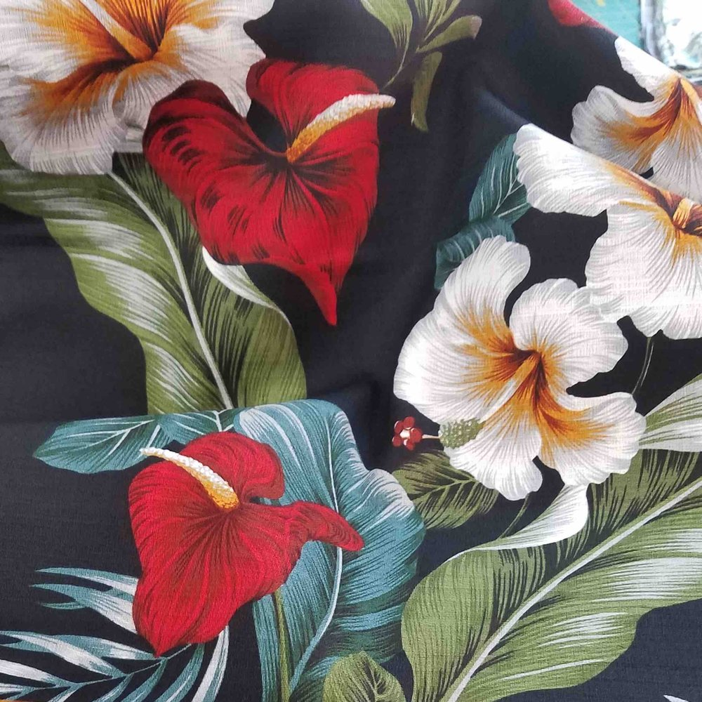 TIMELESS ORCHID   Bark Cloth is woven of coconut fiber and has a distinctive texture, drape and feel. This 100% Cotton print revives that beautiful weave for your enjoyment. Light, airy, flowing beautifully,  It must be experienced.