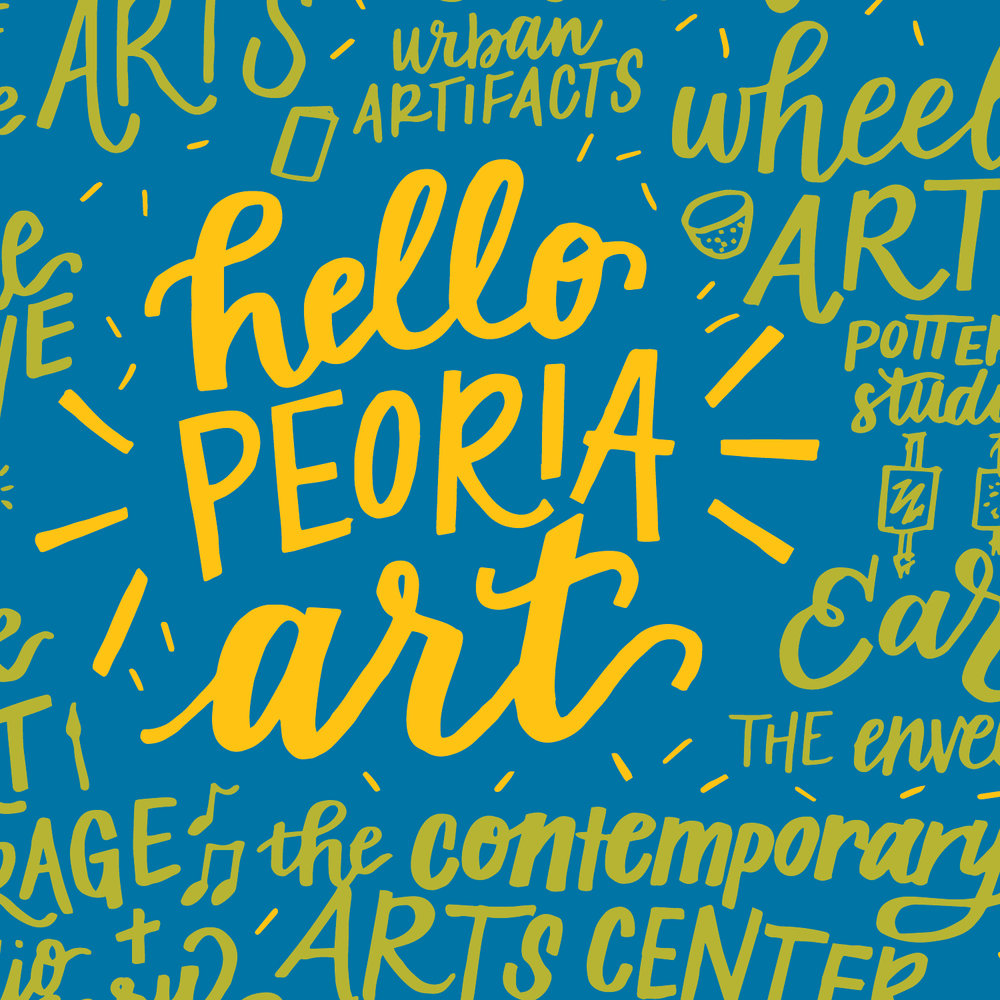 HELLO PEORIA ART - Hello Peoria Art is a curated project that aims elevates the city's art scene. Designers and artists are asked to visually communicate positive aspects of Peoria to create a body of work that will serve as directory of creatives in the community.