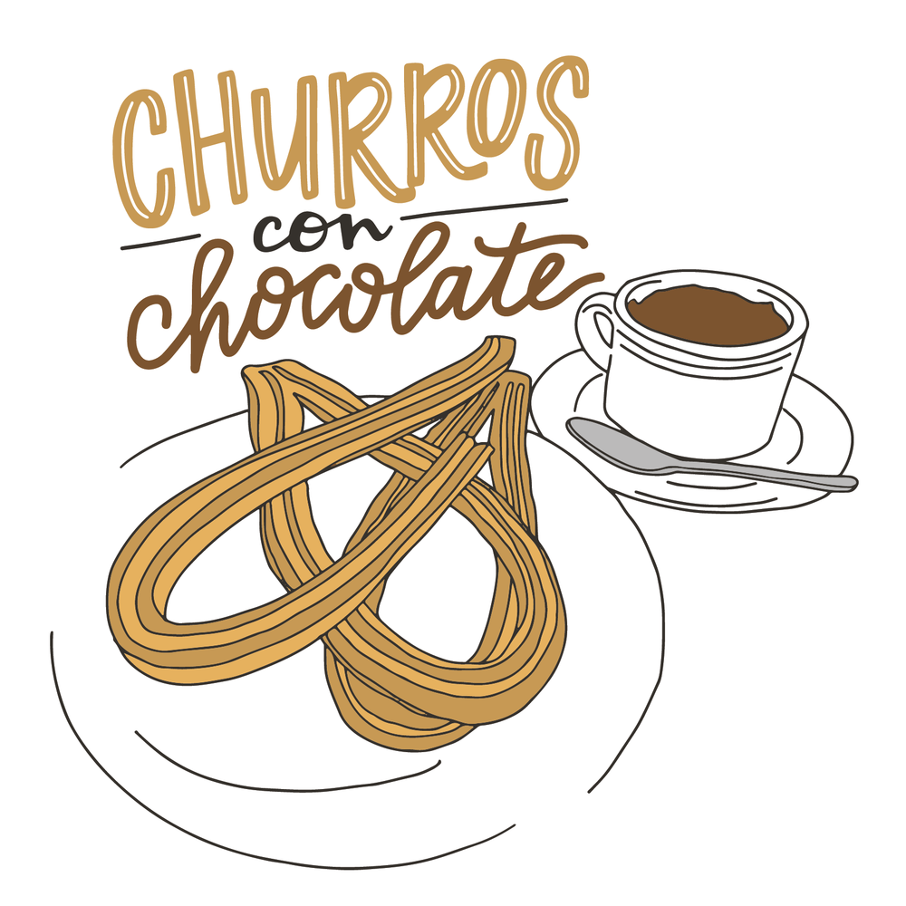 Churros con Chocolate - Food Illustration