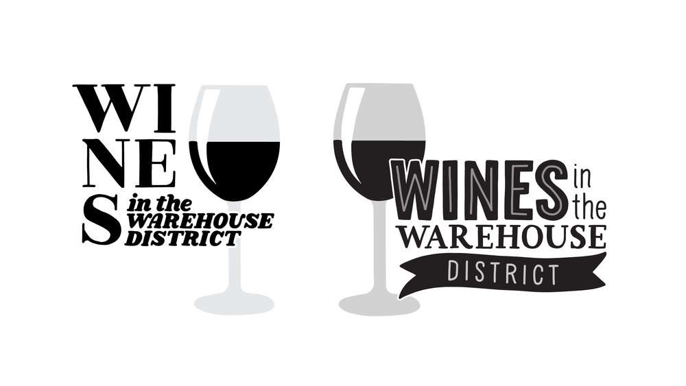 "Two initial design concepts for ""Wines in the Warehouse District"""