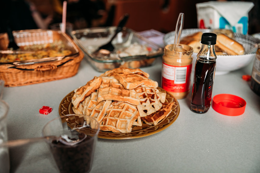 Zandra brought a waffle bar complete with chocolate chips, which was a group favorite.