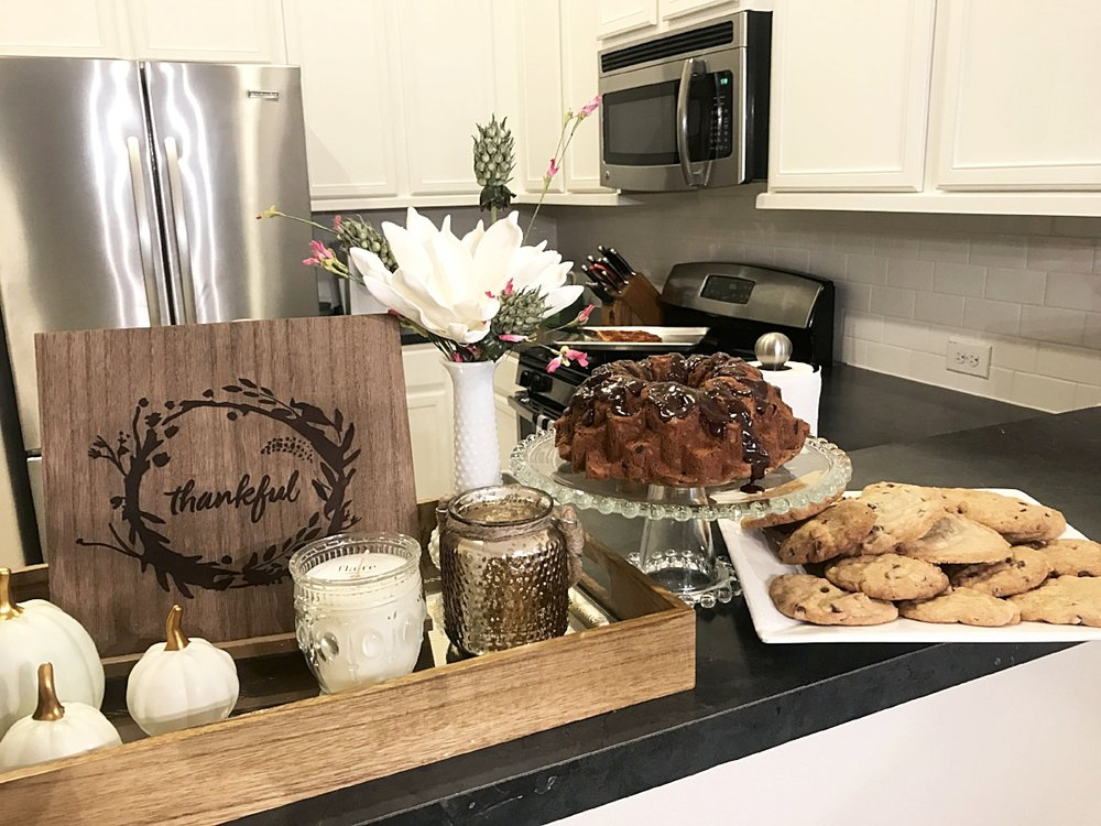I hosted a little dinner with some of our neighbors and it was such a beauitful night in the midst of pain. Sour cream coffee cake & chocolate chip cookies made with lots of love...
