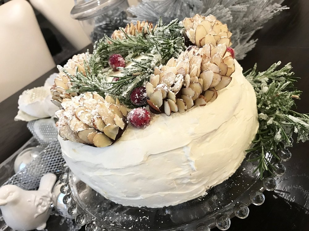 I made this cake last Christmas for a dinner party. Decorated the cake making chocolate almond pine cones dusted with candy sugar. Made with simple syrup dipped in sugar. So thankful our friends enjoyed this beauty...