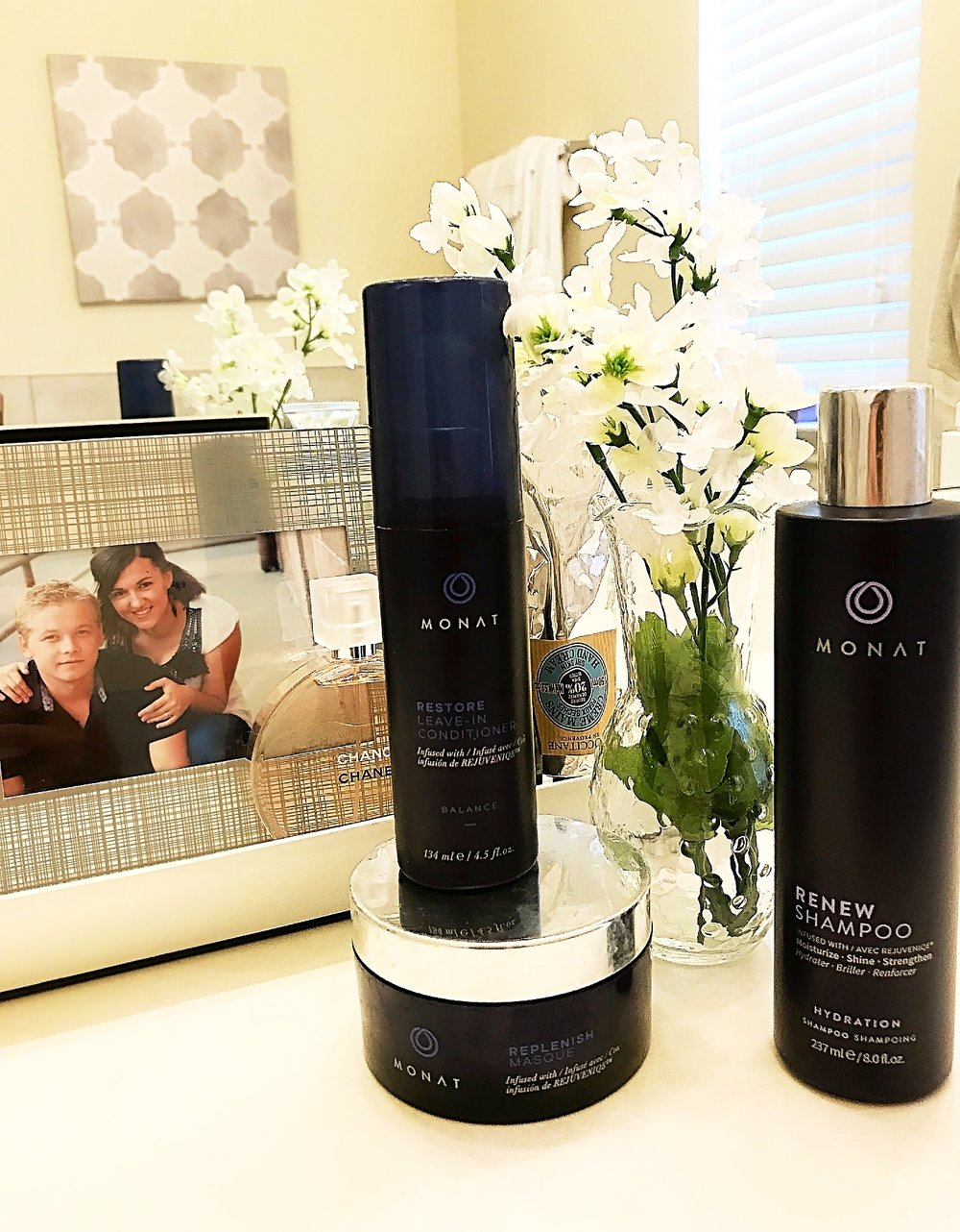 These are the 3 Monat products I tested... Do y'all see Roman and I; this picture was taken eleven years ago...