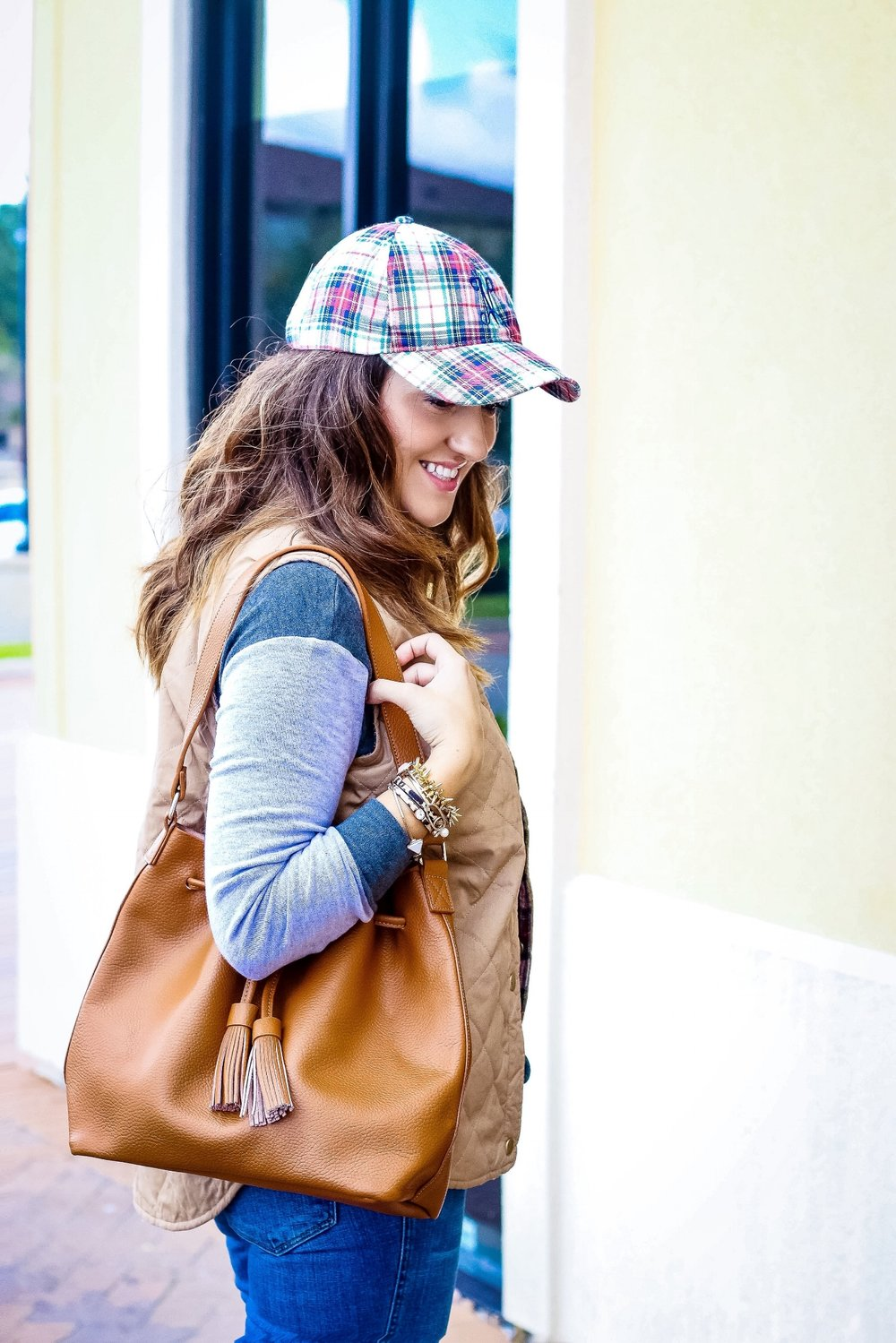 This tote has become my latest on the go favorite bag. Love the size, color and style! Oh and let's talk about the adorable baseball hat! These are the days I want to look put together, yet still be comfortable! This mama of three is always on the go!