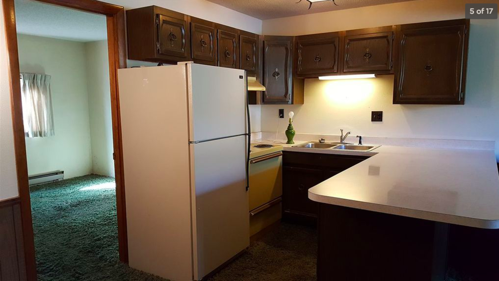 The quaint kitchen and the view into one of two bedrooms, notice the green shag carpeting everywhere—even in the kitchen!