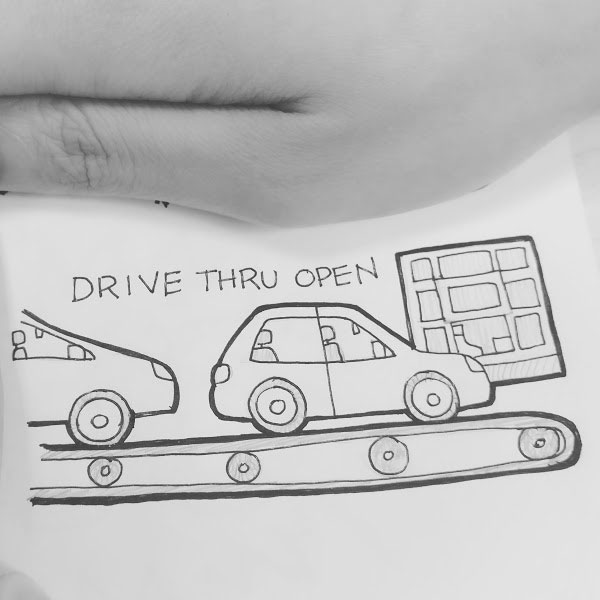 Day 96 : Lessen idling in drive thrus by placing conveyer belts on the road so people can turn off their cars while they wait #100DaysofFooood #the100dayproject