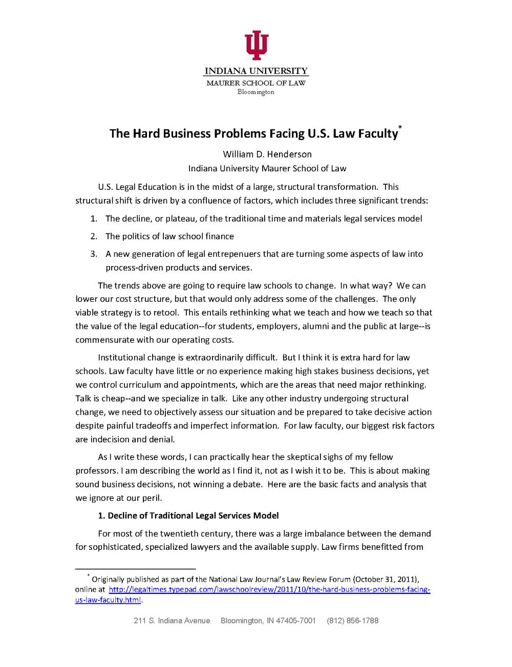 Legal Education — Articles — Bill Henderson