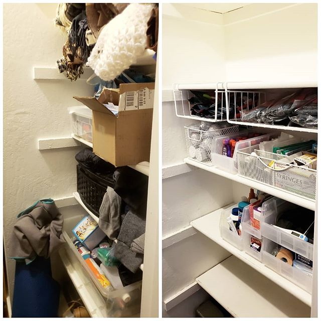 Vertical space is some of the most valuable space! I love to use undershelf baskets from @thecontainerstore to take advantage of it. ... Do you have a closet (or two) that look like the before picture on the left? I really enjoyed working with an Oakland couple to help make their hallway closet more functional for their needs, which also led to cleaning out their other closet as they get ready for their first child. ... #organize #organized #professionalorganizer #tidy #tidyingup #mariekondo #netflix #clothes #closet #drawer #fold #shirt #smallbusiness #girlboss #hustle #newyear #newyearresolution #newyeargoals #change #survey #curious #events #weddings #transition #label #beforeandafter #supplements