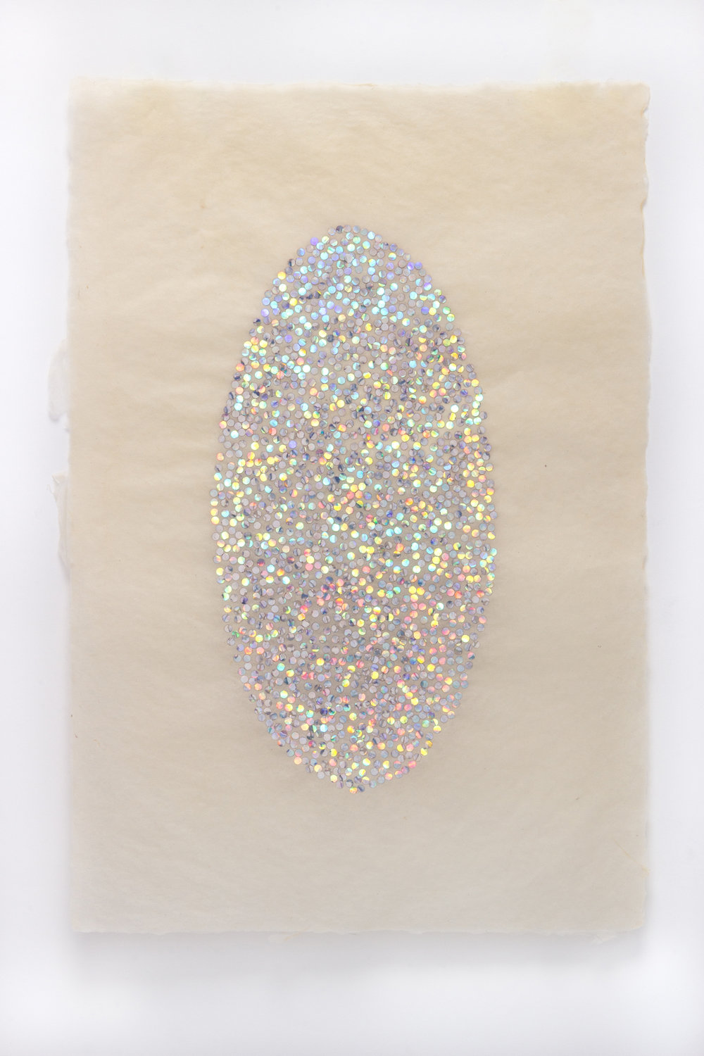 "Leigh Suggs , Untitled, 2015                                      Hand-punched hologram foil on abaca, 11"" x 17"" Photo by Taylor Dabney, Collection of Fidelity Investments"
