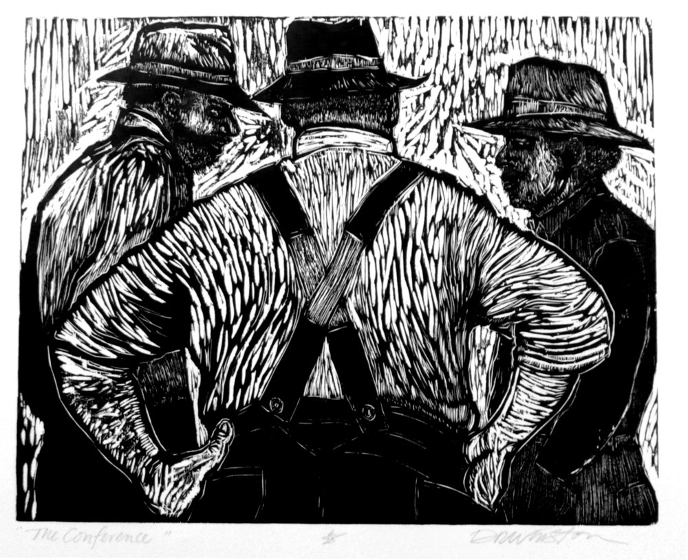 Dennis Winston ,  The Conference , 2007                              Woodcut on Hosho paper, edition of 25 Image courtesy of the artist
