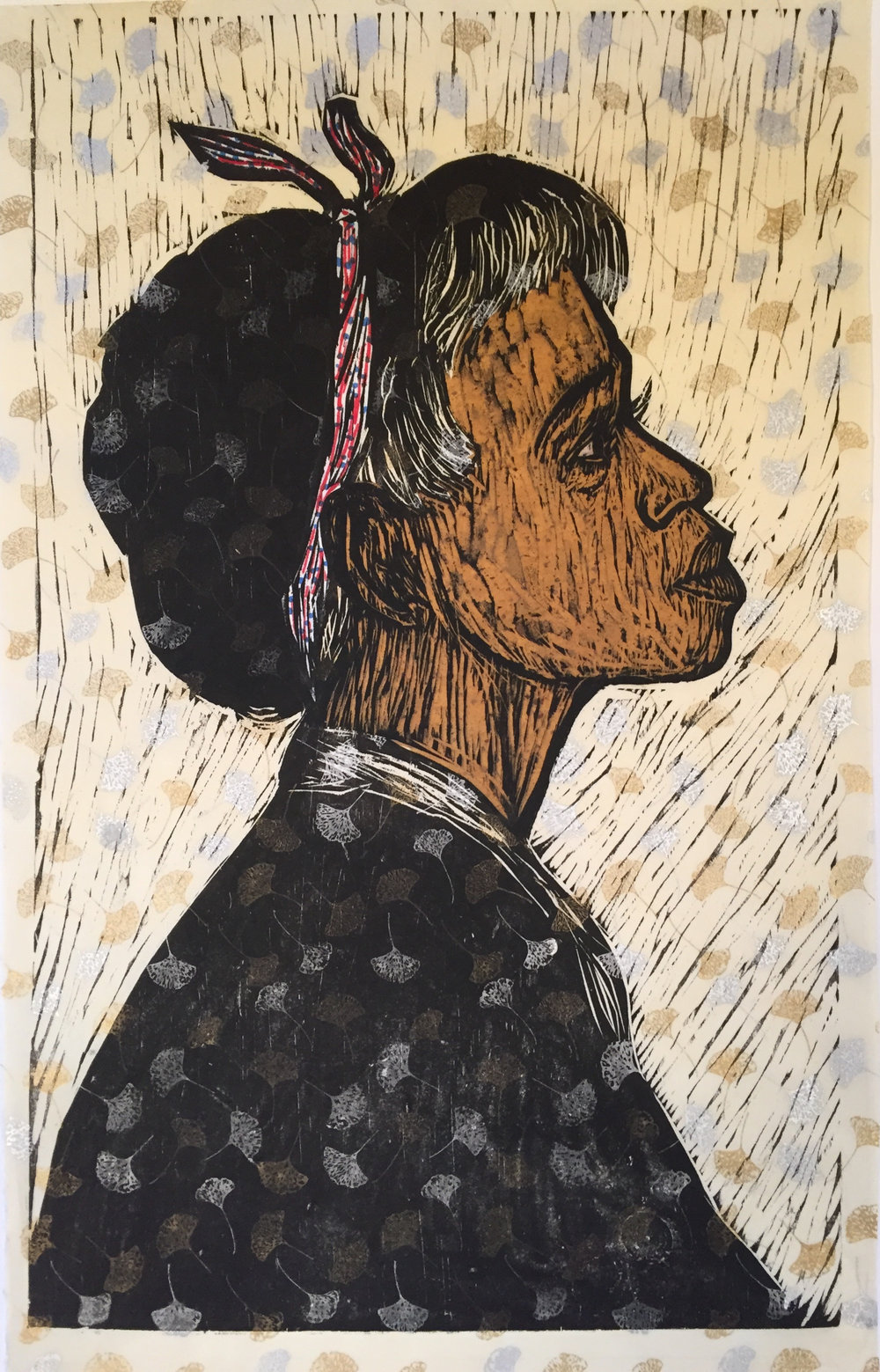Dennis Winston ,  Young Girl II , 2016                            Woodcut and mixed media on handmade paper, edition of 10 Image courtesy of the artist