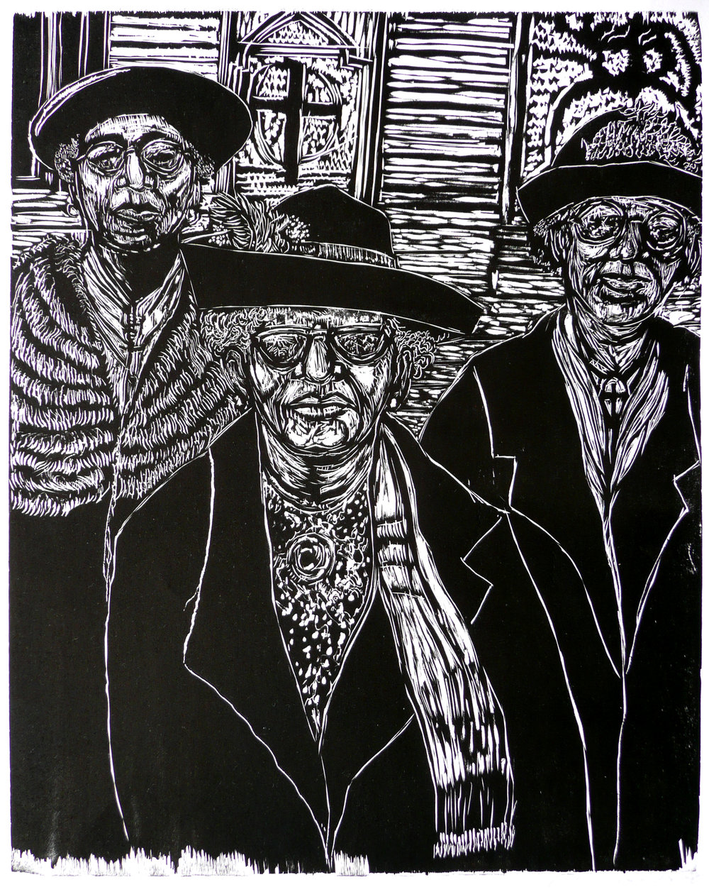 Dennis Winston ,  Sunday Morning Sisters , 2012                            Woodcut on Hosho paper, edition of 25 Image courtesy of the artist