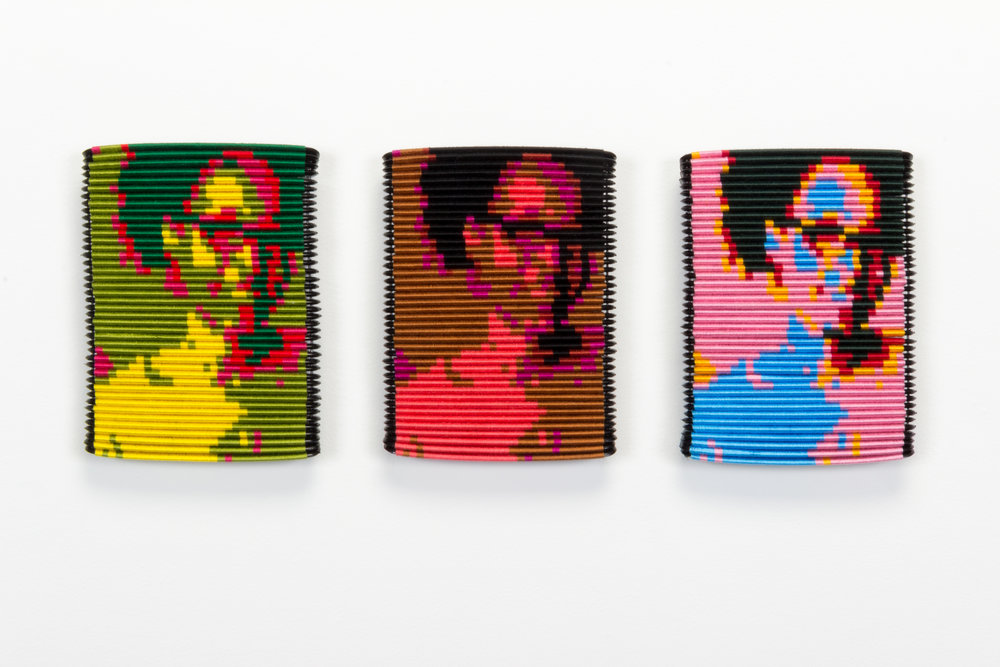 Sonya Clark,   Warhol and Me,  2015  Plastic hair combs, cotton thread, and metal wire (stand)  Image courtesy of the artist