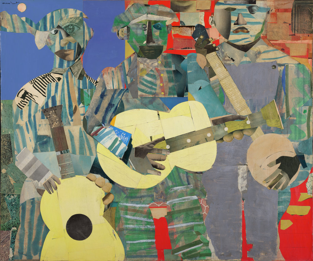 Romare Bearden,   Three Folk Musicians,  1967  Collage of various papers with paint and graphite on canvas, Virginia Museum of Fine Arts, © The Estate of Romare Bearden  Image courtesy of VMFA