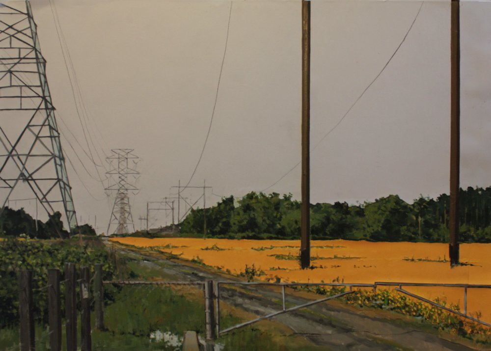 Thomas Van Auken ,  Power Lines , 2016                          Oil, ink, acrylic and cutout colored paper on panel Image courtesy of the artist