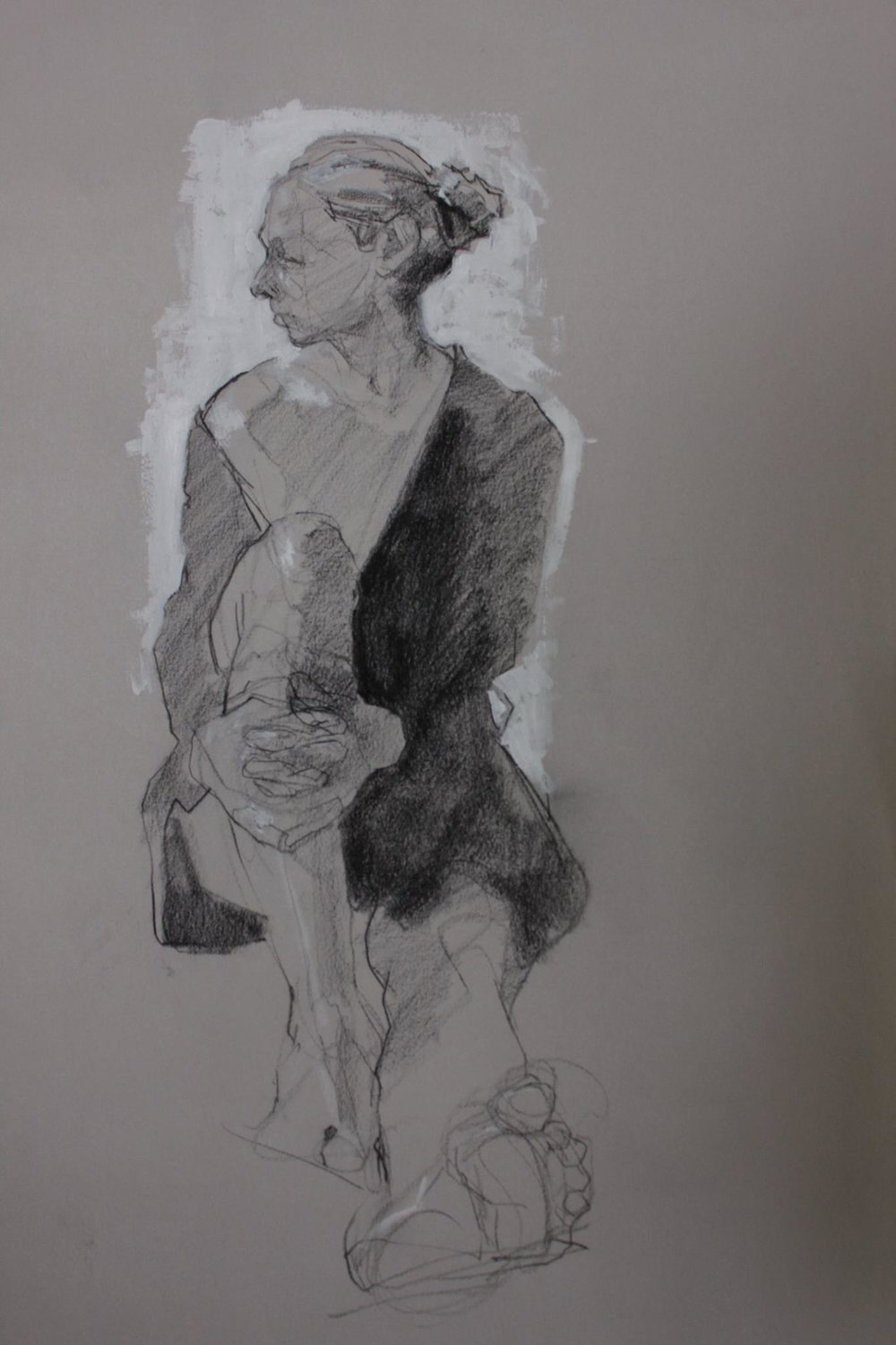 Thomas Van Auken ,  Figure Study , 2017                            Charcoal and acrylic paint on paper Image courtesy of the artist