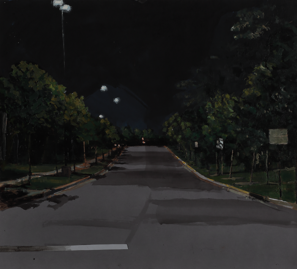 Thomas Van Auken ,  Street at Night , 2016                            Oil, ink, acrylic and cutout colored paper on panel Photo by David Hunter Hale